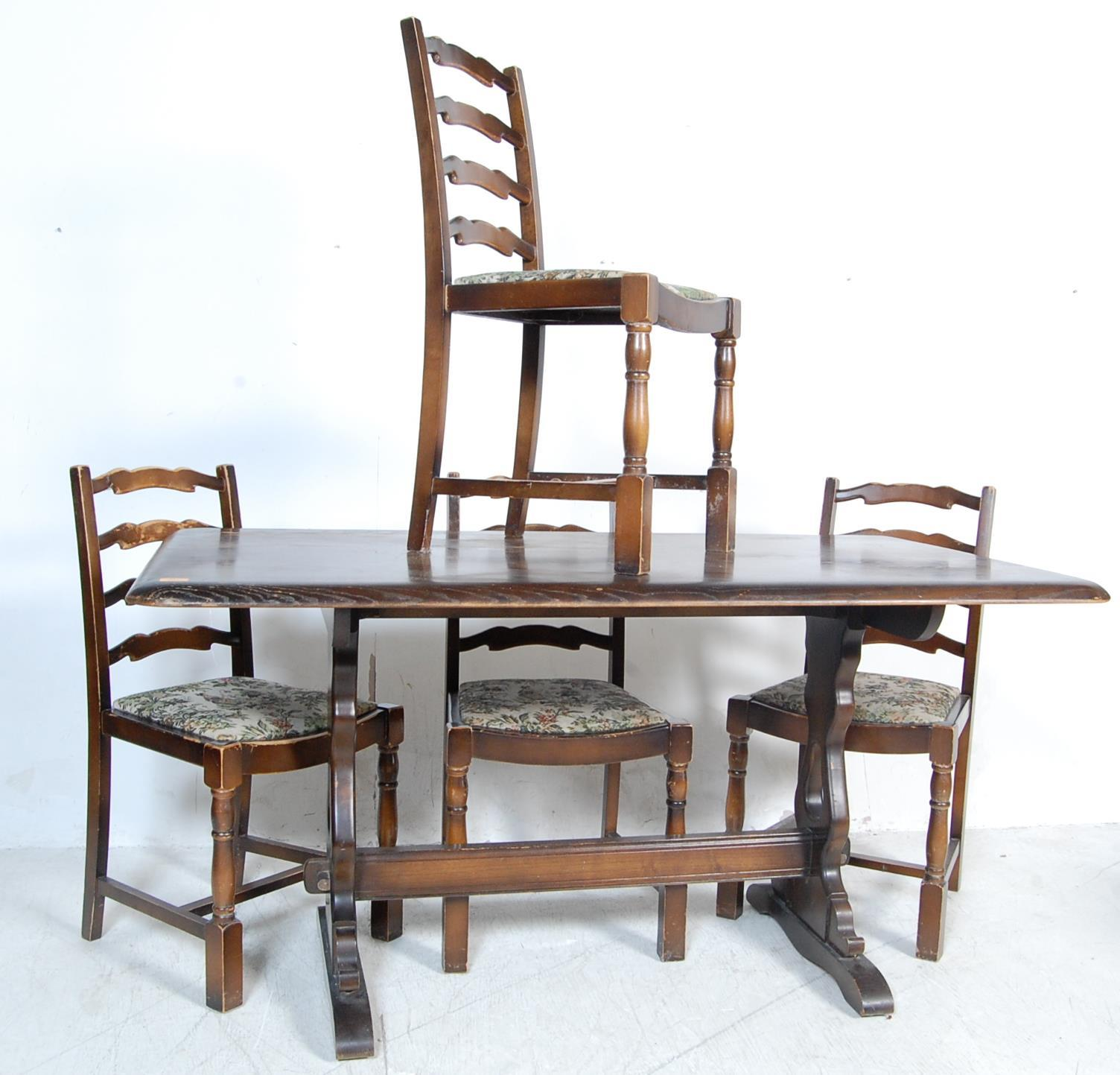 RETRO VINTAGE LATE 20TH CENTURY ERCOL STYLE DINING TABLE AND CHAIRS
