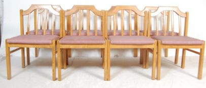 EIGHT VINTAGE GOLDEN OAK DINING CHAIRS