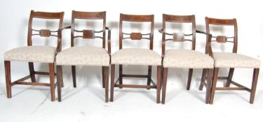 AN ANTIQUE EDWARDIAN REGENCY REVIVAL HARLEQUIN SET OF SIX CHAIRS