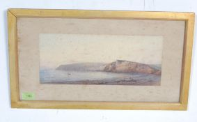DEVON BAY AND CLIFF PAINTING BY ARTHUR W PERRY