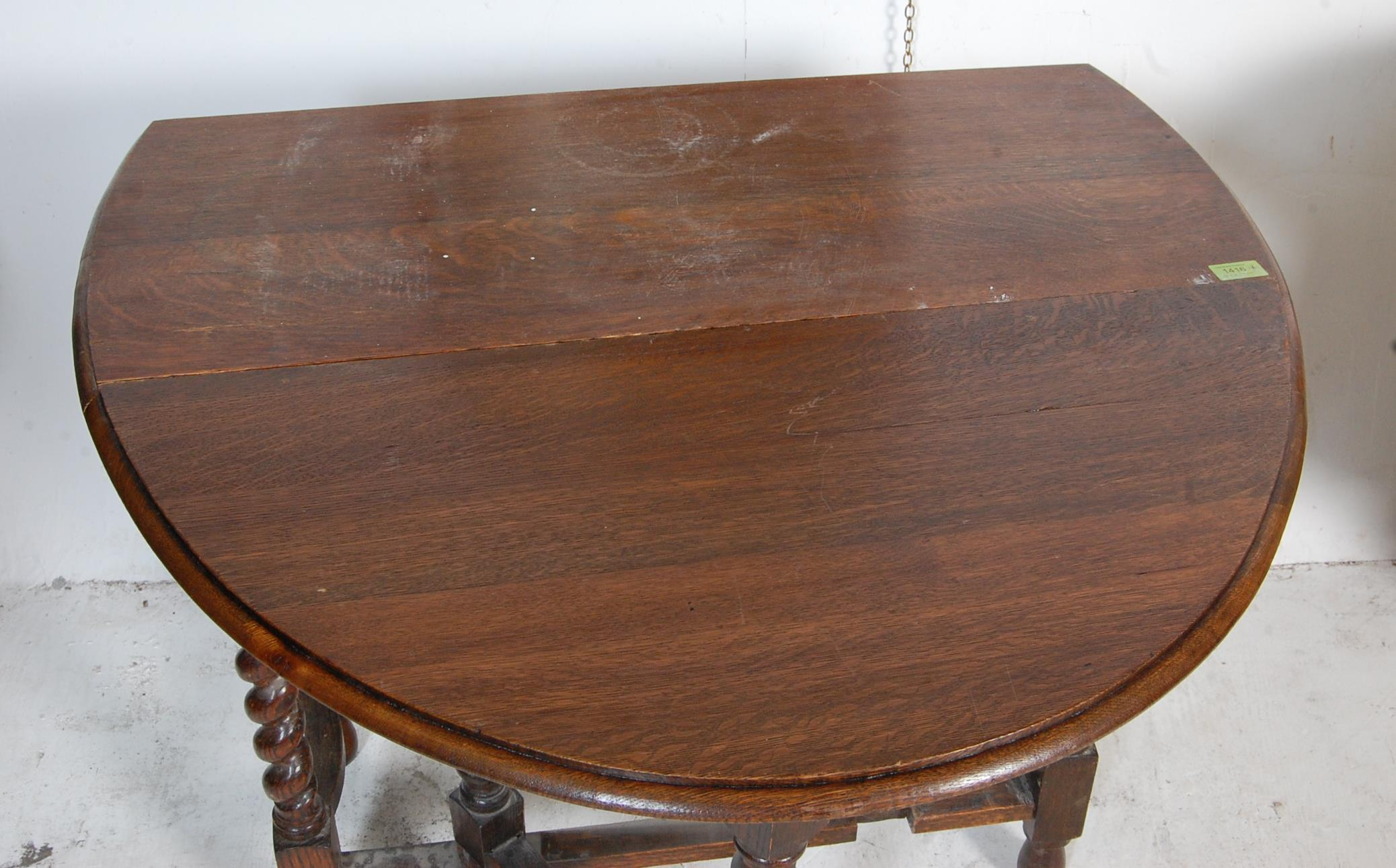 1940'S OAK DROP LEAF DINING TABLE AND OVAL WALL MIRROR - Image 6 of 6