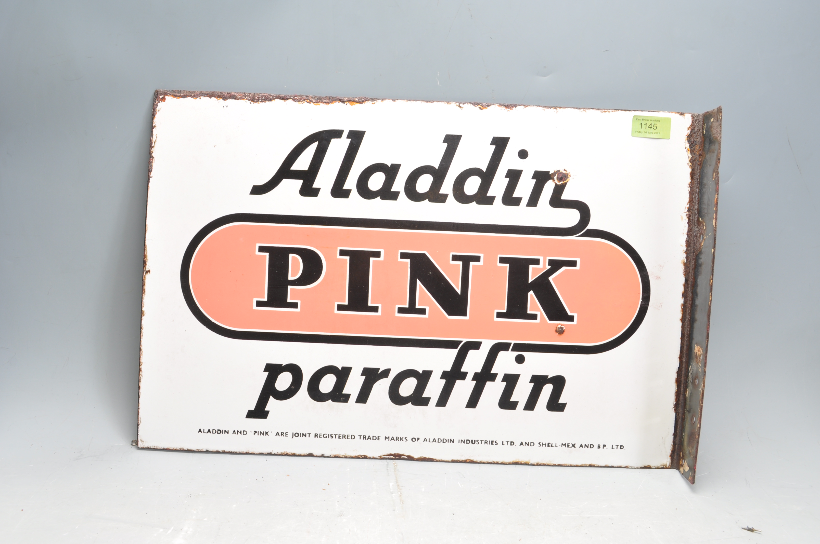 VINTAGE HABERDASHERY DOUBLE SIDED ENAMEL SIGN BY ALADDIN PINK PARAFFIN