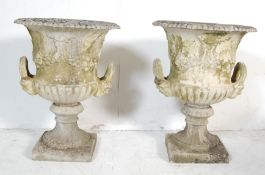 PAIR OF VINTAGE RECONSTITUTED STONE CLASSICAL GARDEN URNS