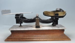 EARLY 20TH CENTURY 1920S MARBLE TOPPED BUTCHERS SCALES