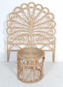 ANTIQUE VICTORIAN STYLE BAMBOO PEACOCK HEADBOARD AND STOOL