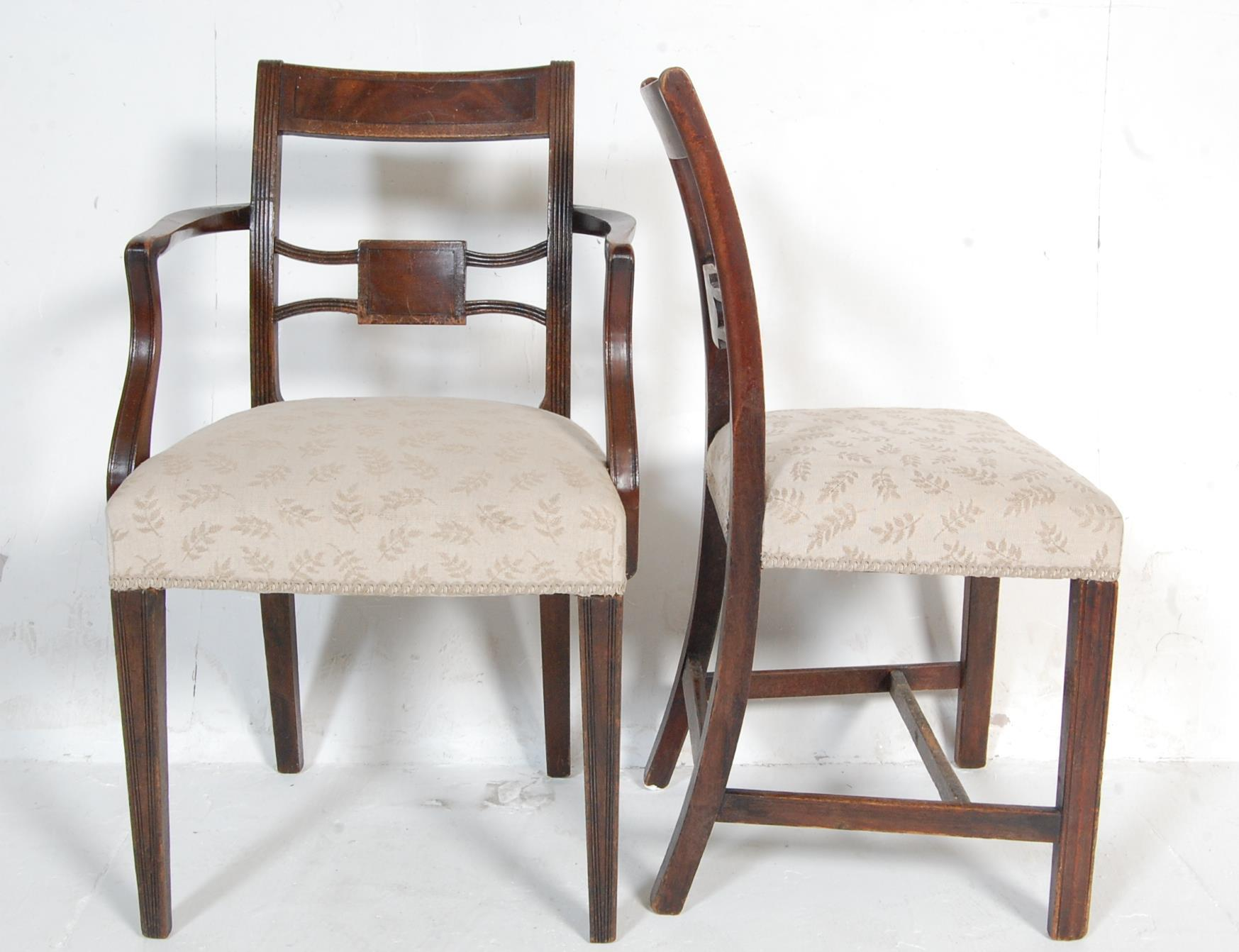 AN ANTIQUE EDWARDIAN REGENCY REVIVAL HARLEQUIN SET OF SIX CHAIRS - Image 6 of 7