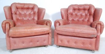 PAIR OF RETRO VINTAGE CHESTERFIELD CLUB CHAIRS