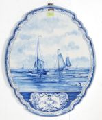 19TH CENTURY BLUE AND WHITE DELFT HOLLAND WALL PLAQUE