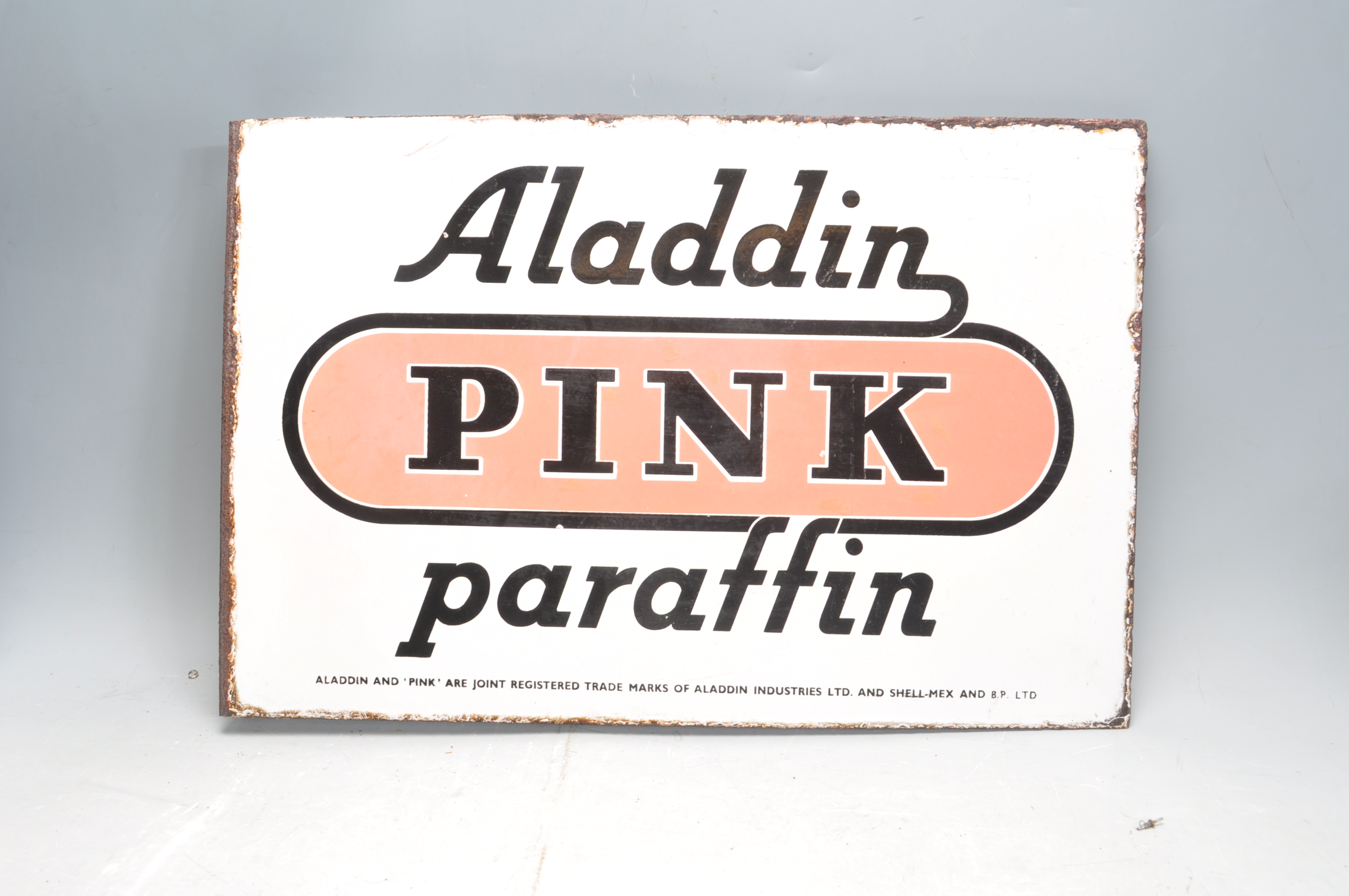 VINTAGE HABERDASHERY DOUBLE SIDED ENAMEL SIGN BY ALADDIN PINK PARAFFIN - Image 7 of 7