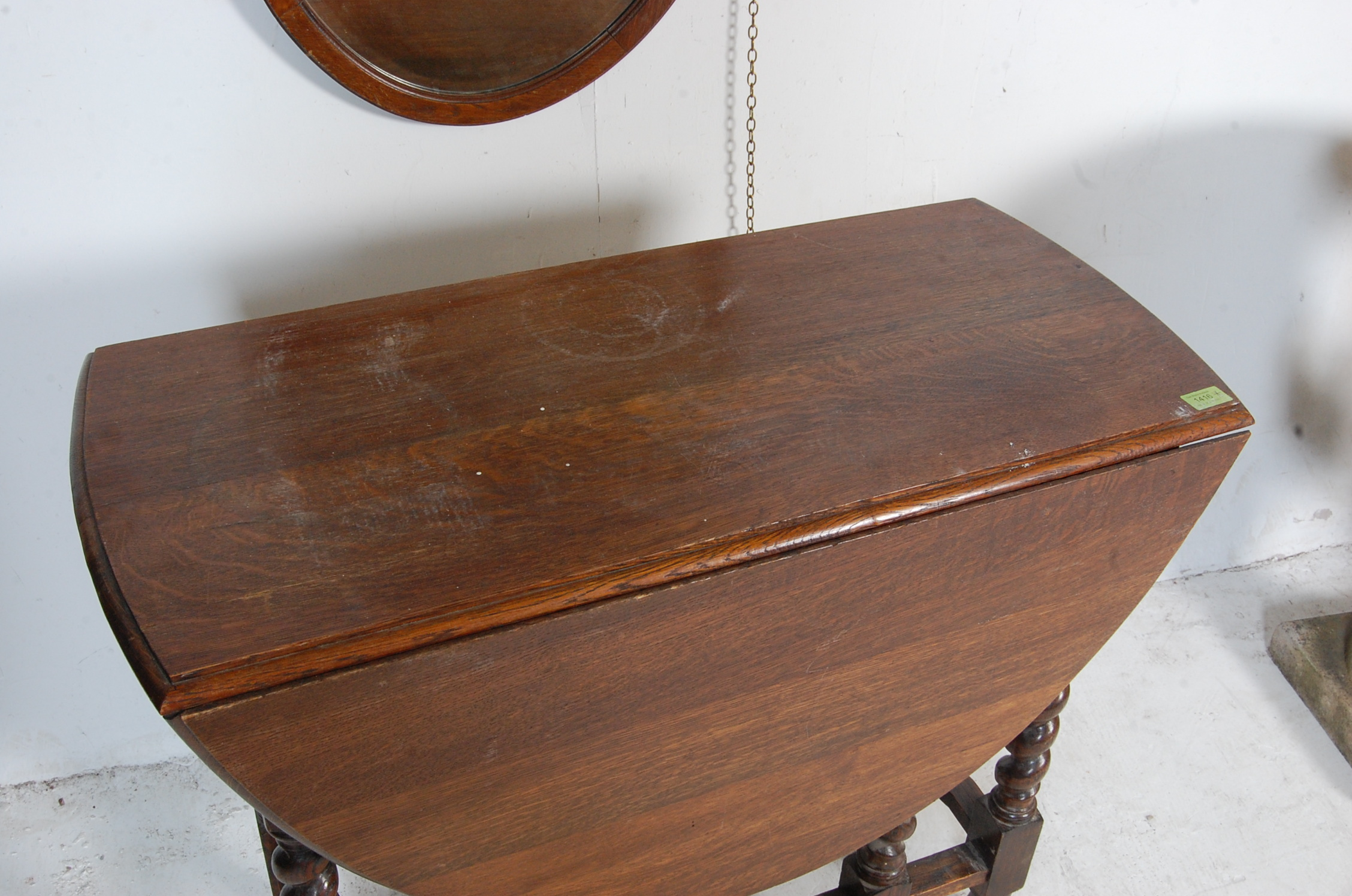 1940'S OAK DROP LEAF DINING TABLE AND OVAL WALL MIRROR - Image 4 of 6