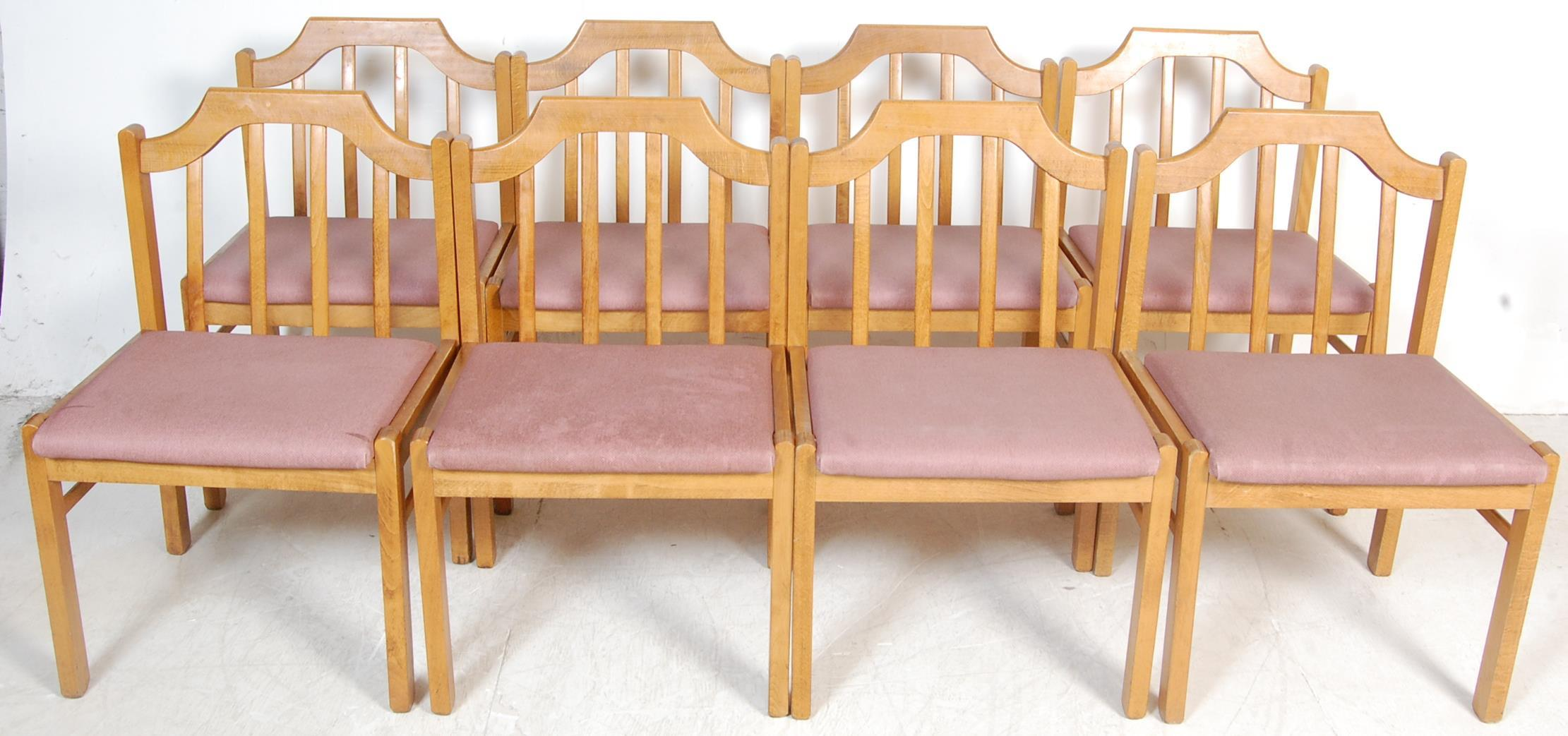 EIGHT VINTAGE GOLDEN OAK DINING CHAIRS - Image 2 of 8
