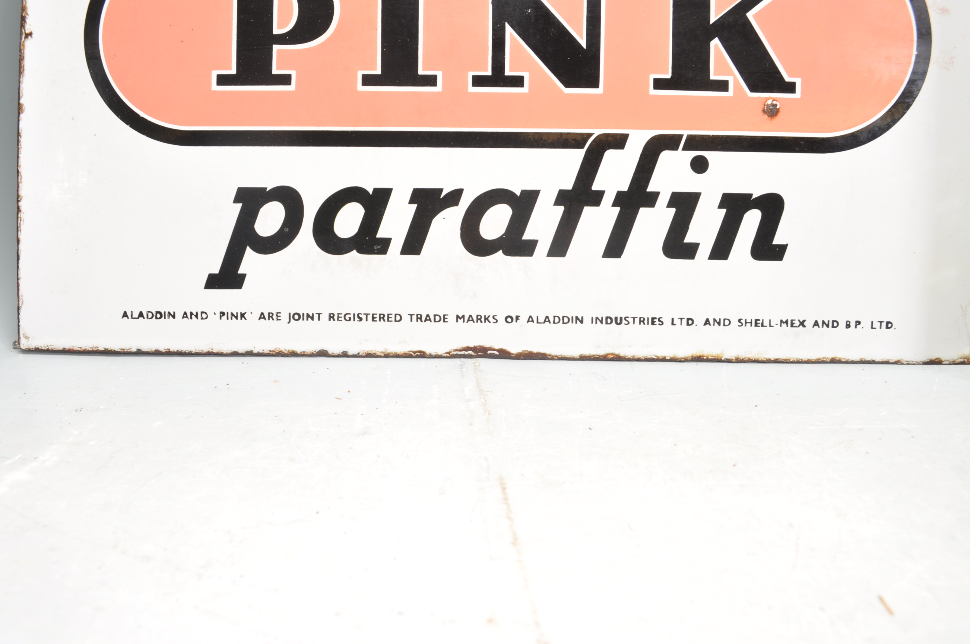 VINTAGE HABERDASHERY DOUBLE SIDED ENAMEL SIGN BY ALADDIN PINK PARAFFIN - Image 6 of 7
