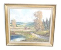 20TH CENTURY OIL ON CANVAS PAINTING OF A HORSE CART IN THE FIELD