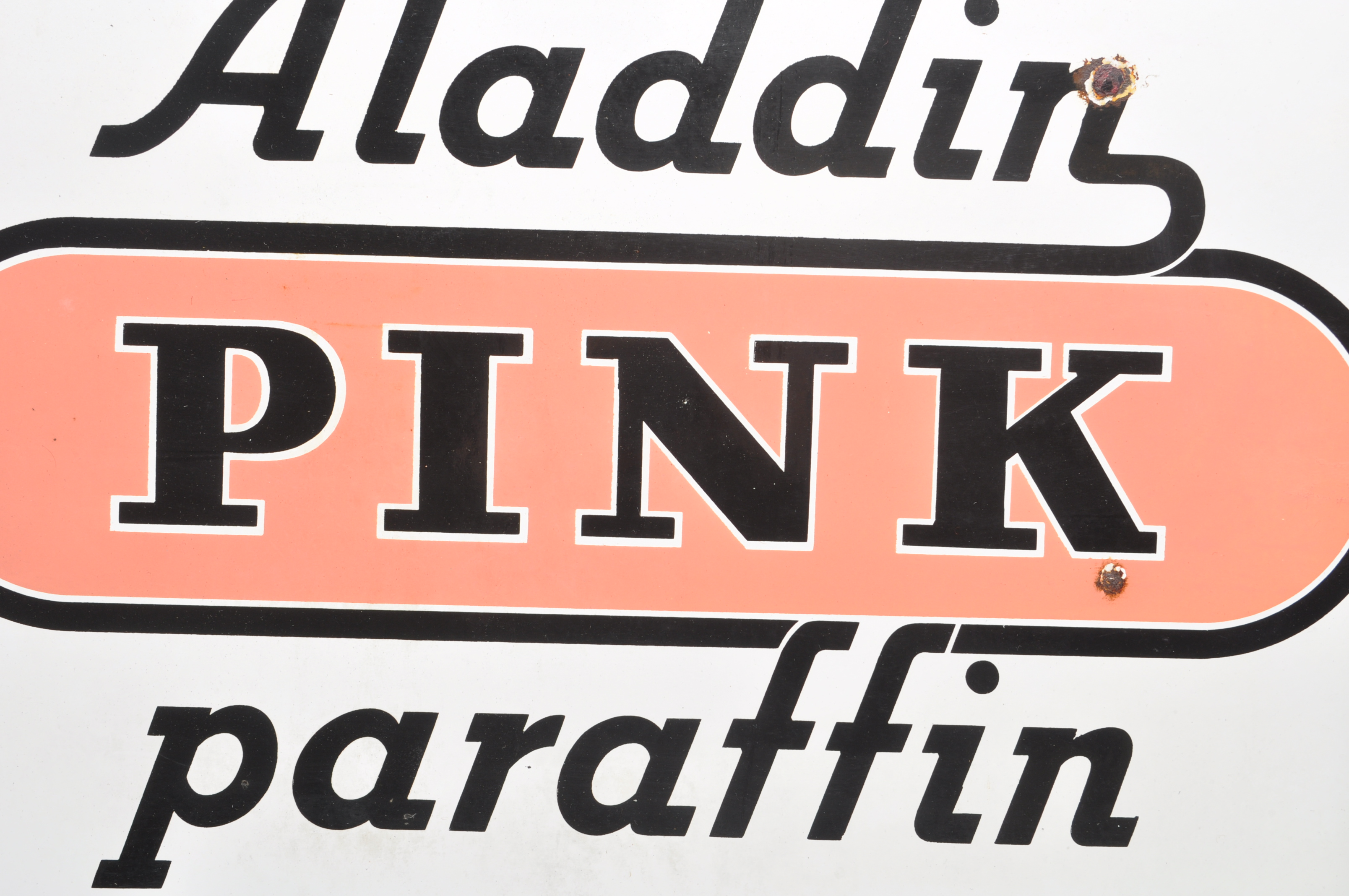 VINTAGE HABERDASHERY DOUBLE SIDED ENAMEL SIGN BY ALADDIN PINK PARAFFIN - Image 4 of 7