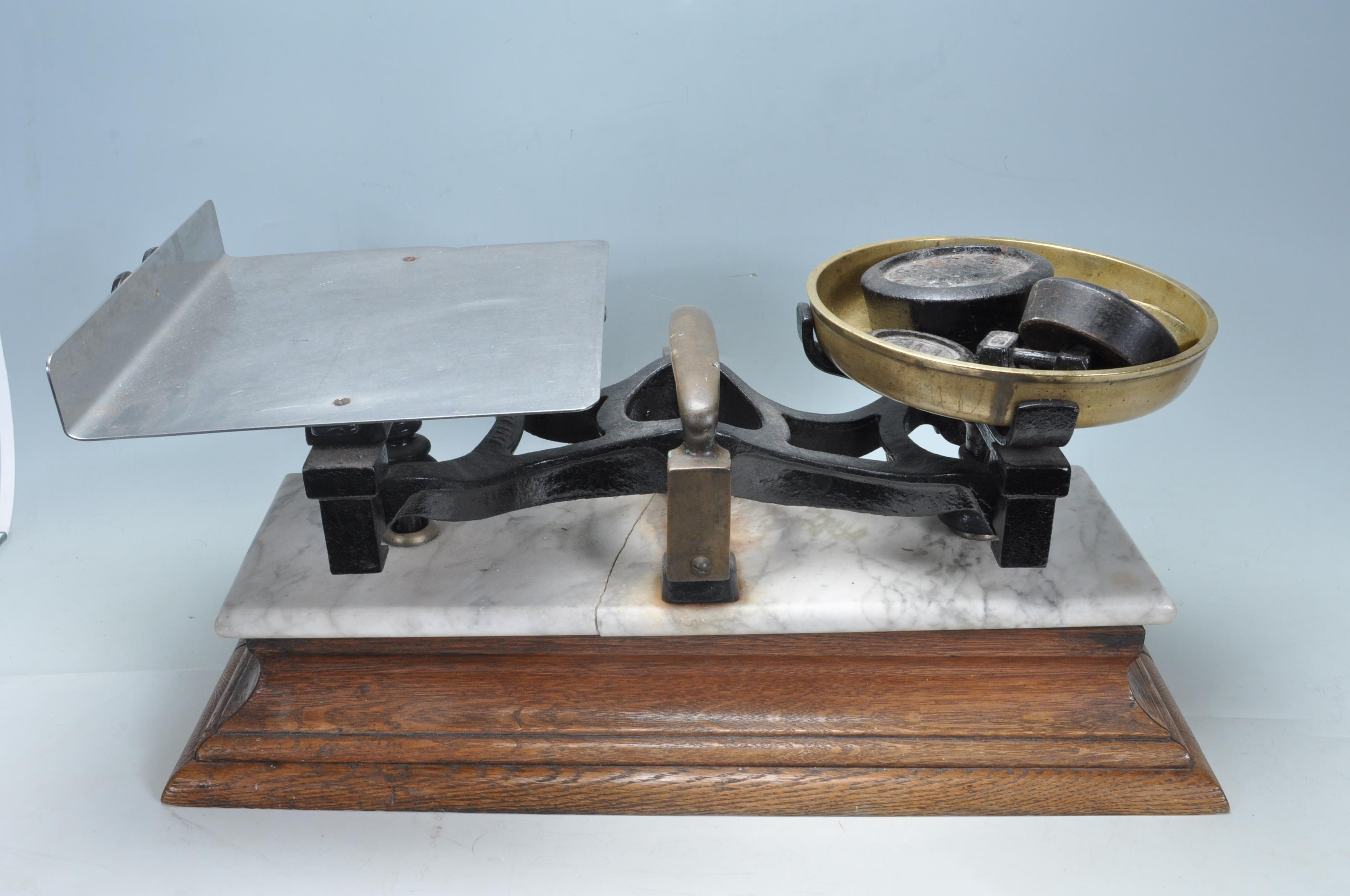 EARLY 20TH CENTURY 1920S MARBLE TOPPED BUTCHERS SCALES - Image 3 of 4