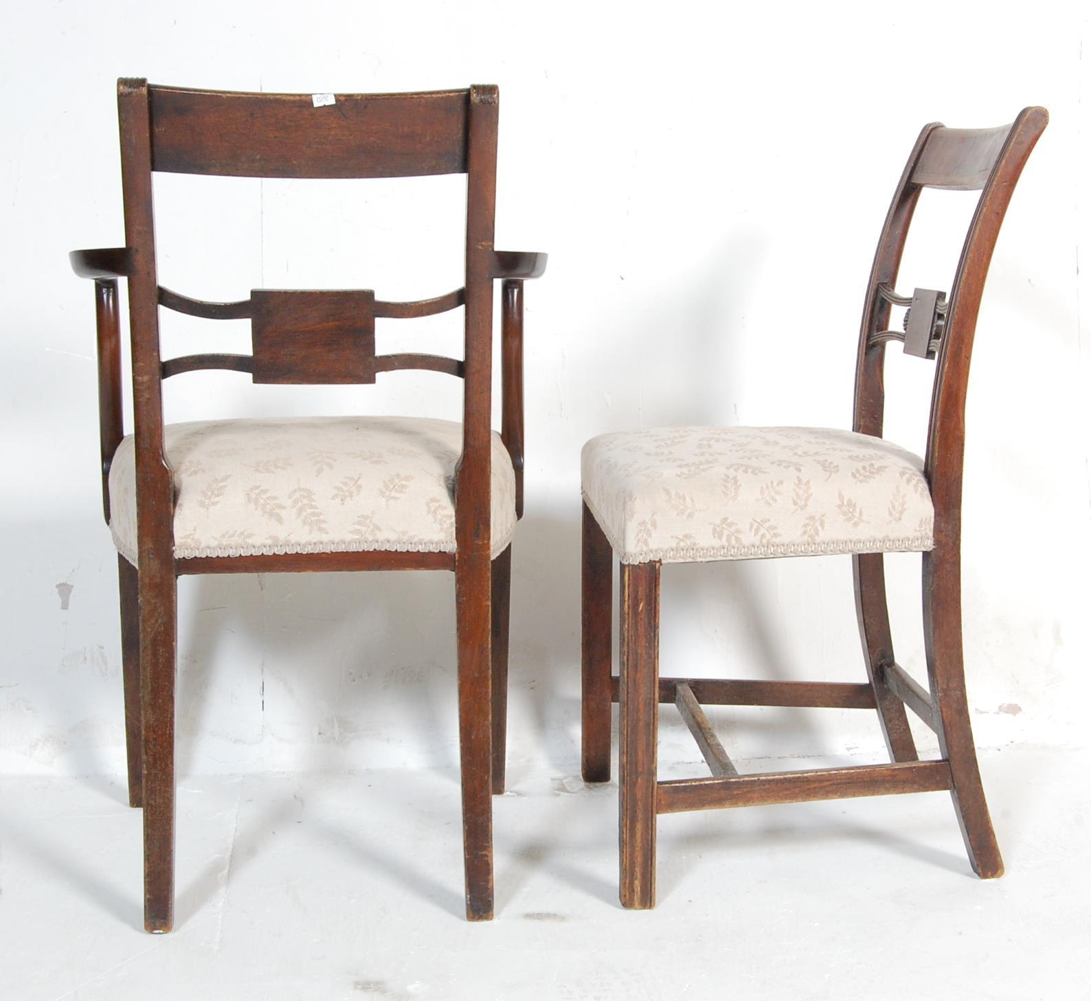 AN ANTIQUE EDWARDIAN REGENCY REVIVAL HARLEQUIN SET OF SIX CHAIRS - Image 7 of 7