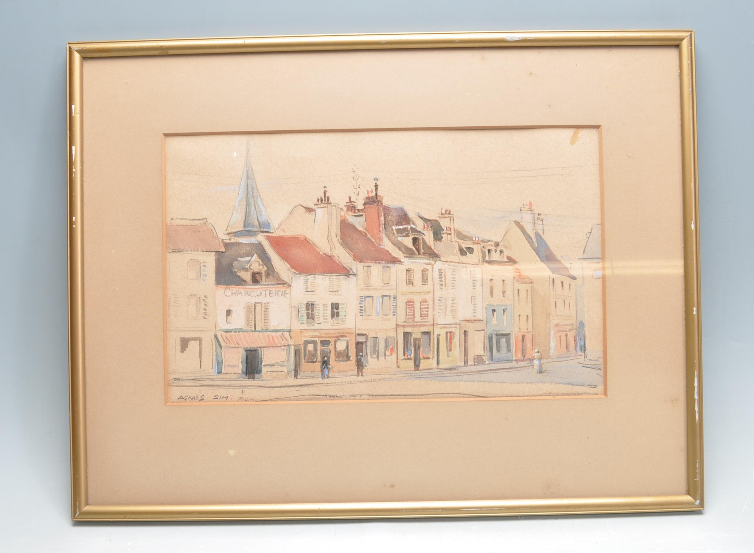 AGNES SIM (1887 - 1978) A 20TH CENTURY WATERCOLOUR DEPICTING A FRENCH STREET SCENE. - Image 2 of 6