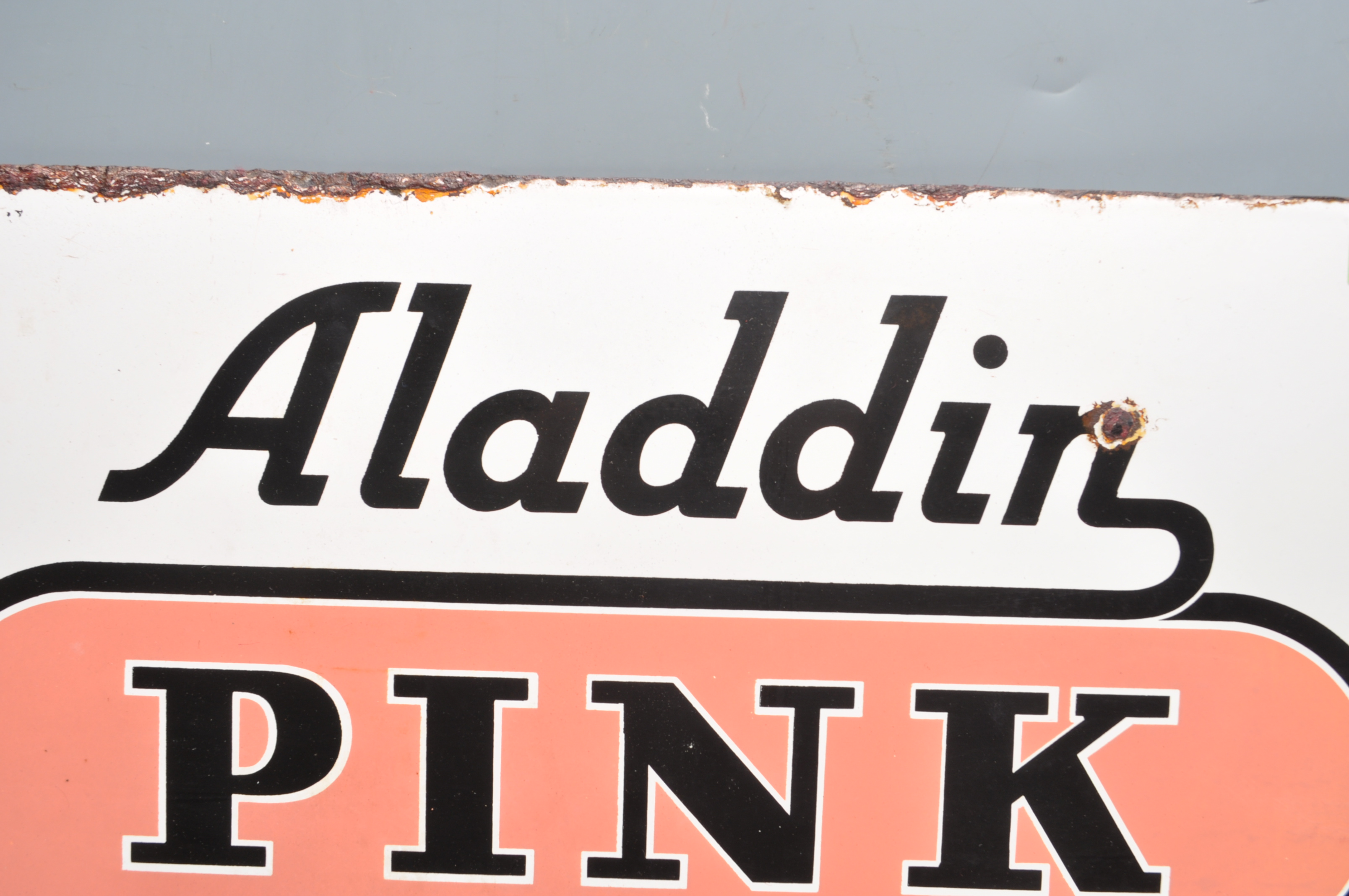 VINTAGE HABERDASHERY DOUBLE SIDED ENAMEL SIGN BY ALADDIN PINK PARAFFIN - Image 2 of 7