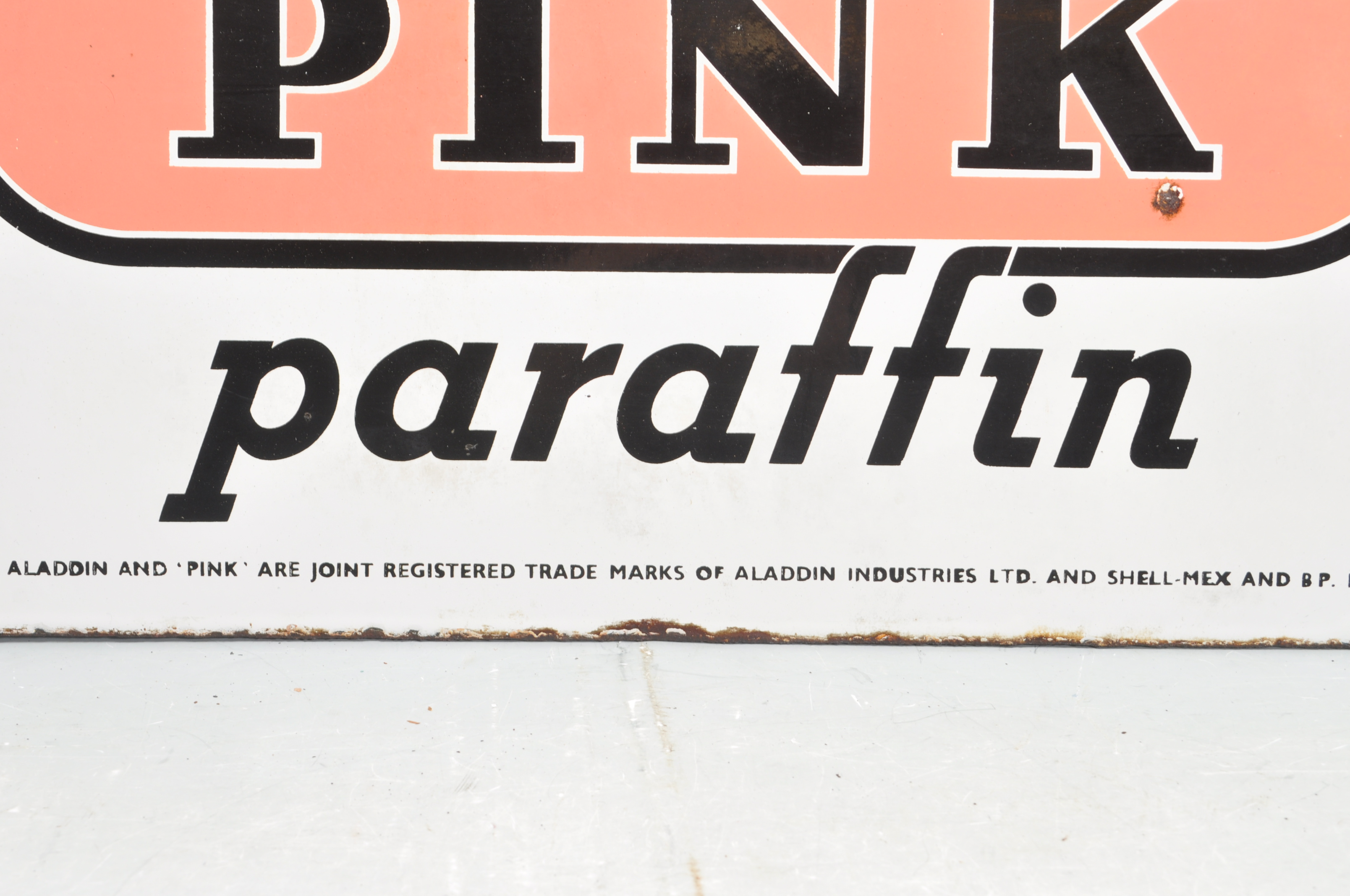 VINTAGE HABERDASHERY DOUBLE SIDED ENAMEL SIGN BY ALADDIN PINK PARAFFIN - Image 5 of 7