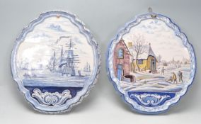 TWO 20TH CENTURY DELFT WALL PLAQUES