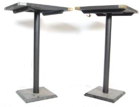 CONTEMPORARY EBONISED WOOD BAR TABLES