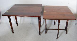 19TH CENTURY VICTORIAN MAHOGANY PEMBROKE TABLE AND A EDWARDIAN MAHOGANY SUTHERLAND TABLE