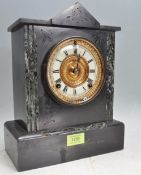 ANTIQUE SLATE MANTEL CLOCK OF ARCHTECTURAL FORM