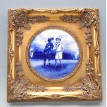 BLUE AND WHITE EDWARDIAN WALL PLAQUE