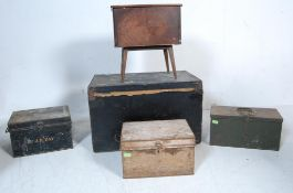 VINTAGE RETRO OAK SEWING BOX AND STRONG BOXES