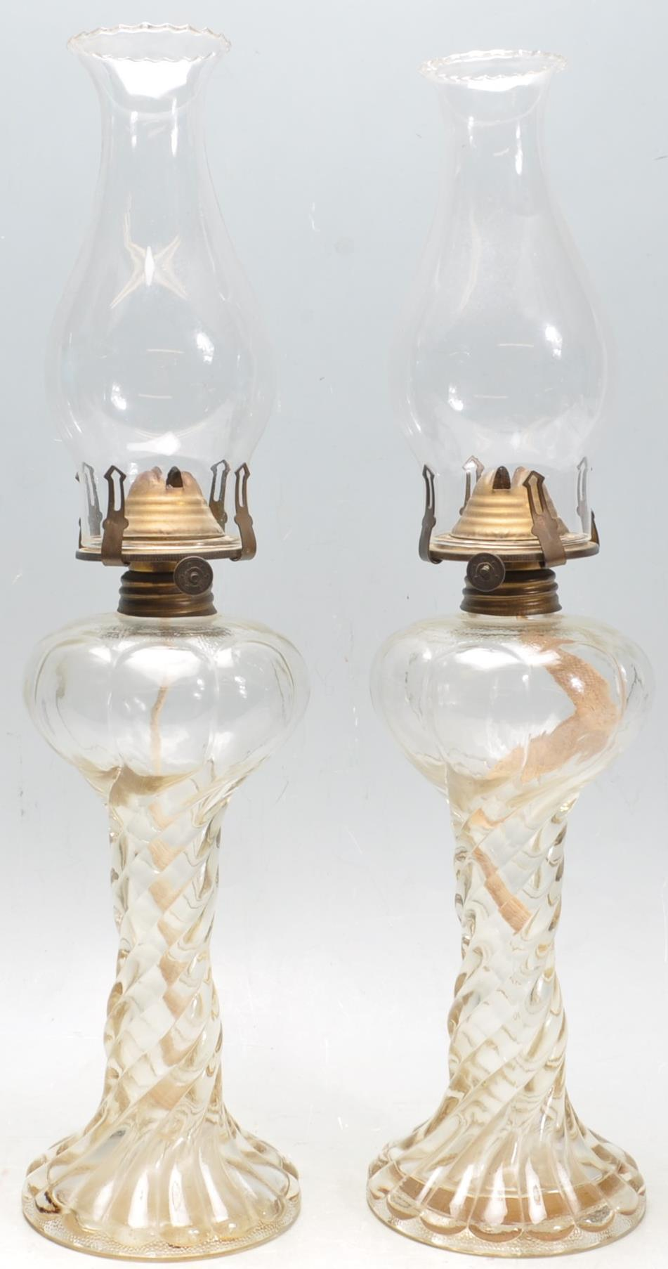 PAIR OF EARLY 20TH CENTURY 1930S ART DECO ERA GLASS OIL LAMPS