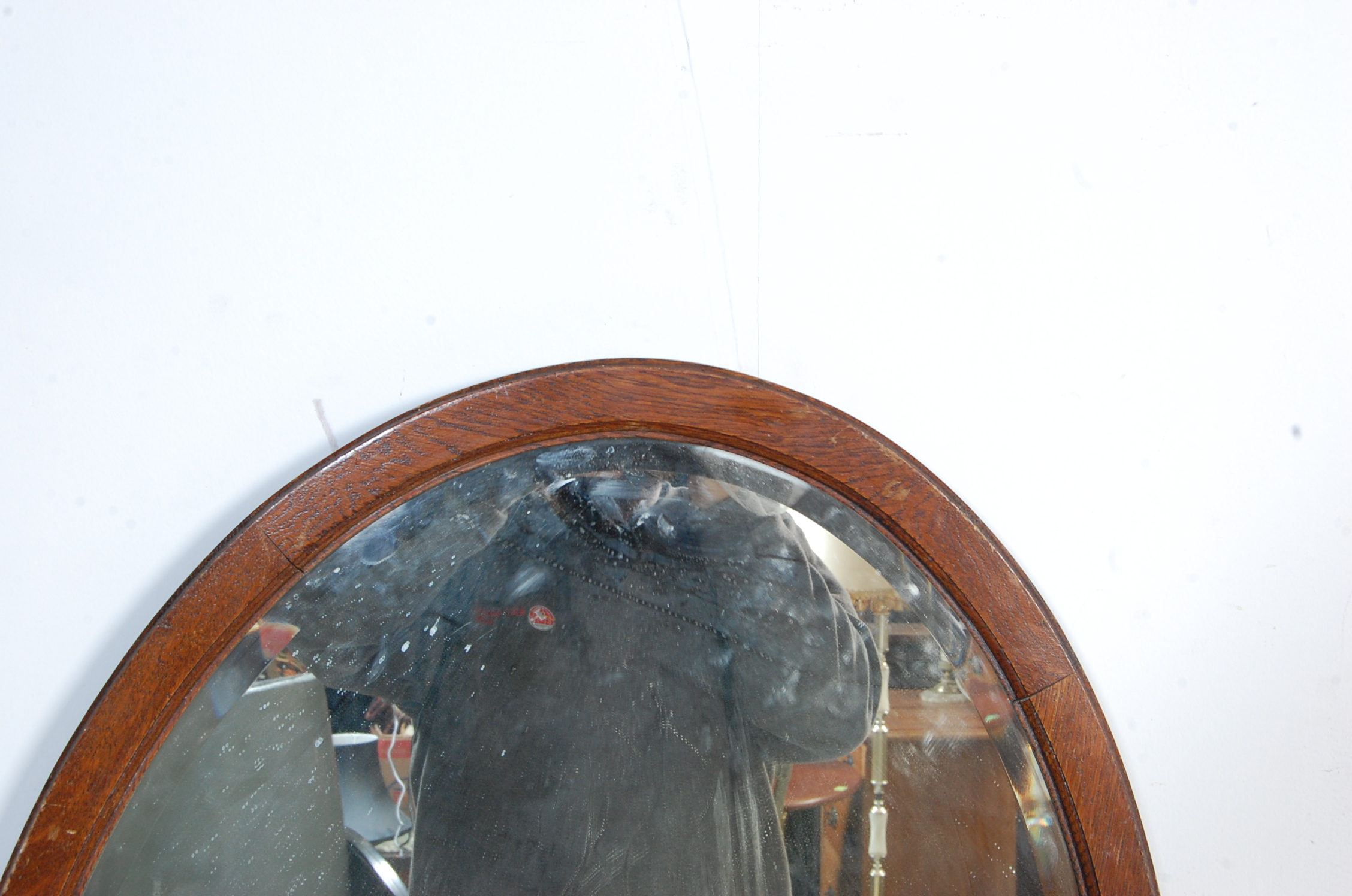 1940'S OAK DROP LEAF DINING TABLE AND OVAL WALL MIRROR - Image 2 of 6