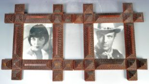 MATCHING PAIR OF VICTORIAN TRAMP ART CARVED PHOTO FRAMES