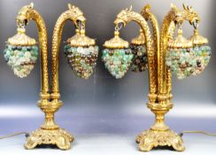 PAIR OF MURANO BRONZE GRIFFIN AND GRAPE TABLE LIGHTS