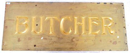 20TH CENTURY CARVED GILT BUTCHERS ADVERTISING SIGN
