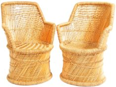 CHARMING MATCHING PAIR OF WICKER AND CANE CHILDRENS CHAIRS