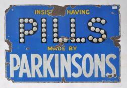 PARKINSONS PILLS VINTAGE ADVERTISING ENAMEL SHOP SIGN