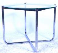 LUDWIG MIES VAN DE ROHE FOR KNOLL STUDIO GLASS AND CHROME TABLE