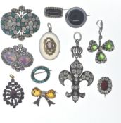 GROUP OF ANTIQUE BROOCHES AND PENDANTS