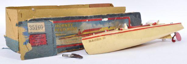 ORIGINAL VINTAGE HORNBY TIN PLATE CLOCKWORK SPEED BOAT