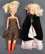 TWO ORIGINAL VINTAGE SINDY DOLLS WITH OUTFITS