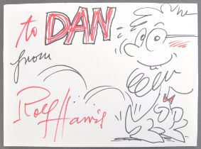 ROLF HARRIS - SCARCE HAND DRAWN SKETCH ARTWORK WITH AUTOGRAPH