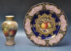 ROYAL WORCESTER R. SEBRIGHT PLATE AND RICKETTS VASE.