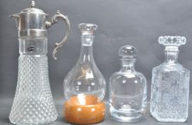 SILVER PLATE CUT GLASS CLARET JUG AND THREE OTHERS