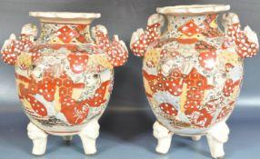 TWO JAPANESE SATSUMA URNS / VASES