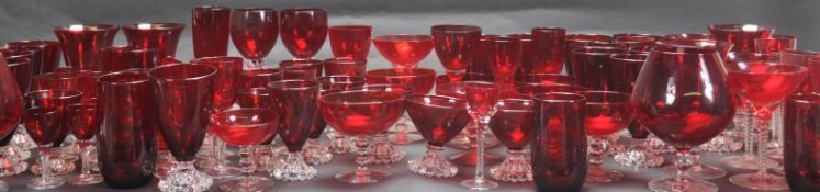 LARGE MIXED COLLECTION OF RED ANCHOR HOCKING GLASSWARE