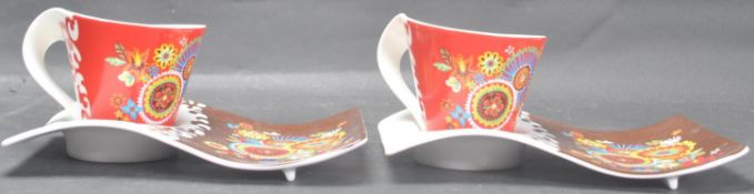 TWO VILLEROY & BOCH TEA CUPS AND SAUCERS
