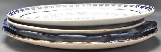 COLLECTION BLUE & WHITE 19TH & 20TH CENTURY MEAT PLATTERS