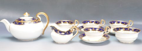 LATE 20TH CENTURY AYNSLEY COBALT AND GOLD TEA SERVICE.