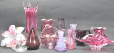 COLLECTION OF 20TH CENTURY GLASS VASES AND ORNAMENTS.