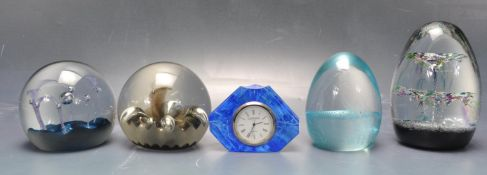 FIVE VINTAGE 1970'S STUDIO ART GLASS CAITHNESS PAPERWEIGHT